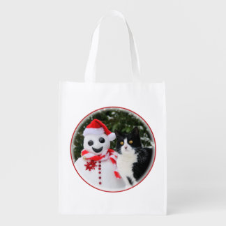 Cat and Santa Snowman Christmas Grocery Bags