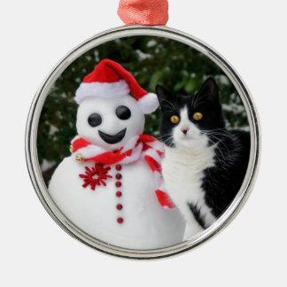 Cat and Santa Snowman Christmas Metal Ornament