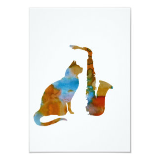 Cat and saxophone card