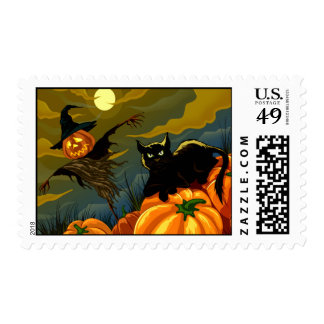 Cat And Scarecrow Halloween Stamp
