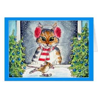Cat and skating mouse holiday greeting card
