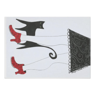 """Cat and Small network shoes girl"" ""with red shoes Poster"