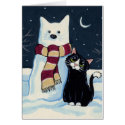 Cat and Snow Cat at Night Christmas Card