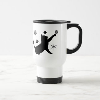 Cat and Snowflakes in Silhouette Travel Mug