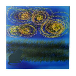 """""""Cat and Stars"""" Design Ceramic Tile"""
