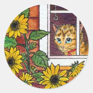 cat and sunflower classic round sticker