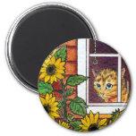 cat and sunflower fridge magnet