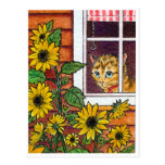 cat and sunflower post card