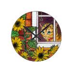 cat and sunflower round clock