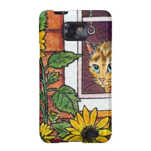 cat and sunflower samsung galaxy SII case