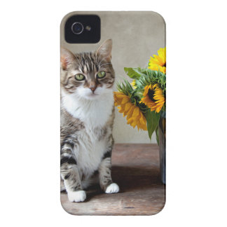 Cat and Sunflowers iPhone 4 Case-Mate Cases