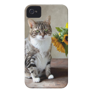 Cat and Sunflowers iPhone 4 Cover