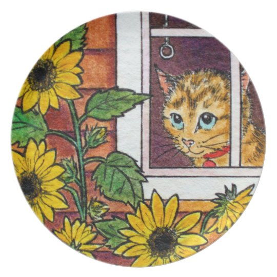 Cat and sunflowers melamine plate