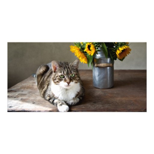 Cat and Sunflowers Picture Card