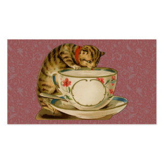 Cat and Teacup Vintage Victorian Business Card