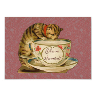 Cat and Teacup Vintage Victorian Card