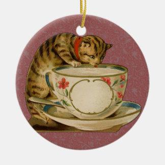 Cat and Teacup Vintage Victorian Ceramic Ornament