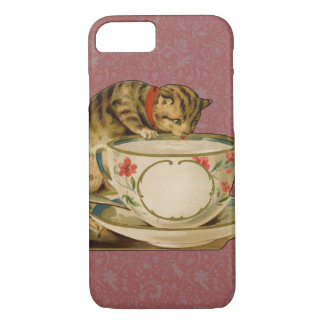 Cat and Teacup Vintage Victorian iPhone 7 Case