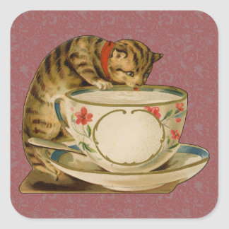 Cat and Teacup Vintage Victorian Square Stickers