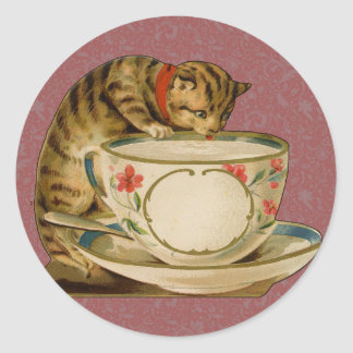 Cat and Teacup Vintage Victorian Round Sticker