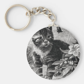 Cat and the Butterfly Artwork Basic Round Button Keychain