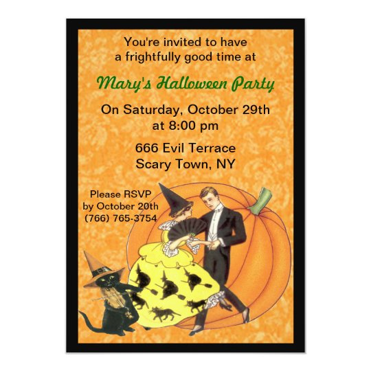 Cat And The Fiddle Halloween Party Invitation