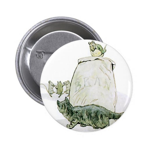 Cat and the Mice Artwork Pinback Buttons