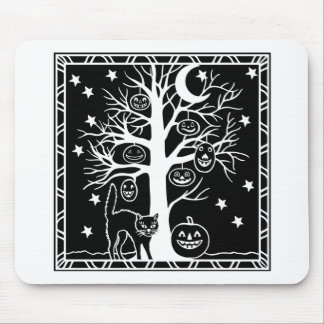 Cat and the Pumpkin Tree Mousepads