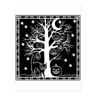 Cat and the Pumpkin Tree Postcard