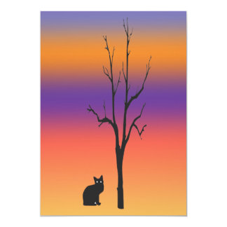 Cat and Tree Halloween 5x7 Paper Invitation Card