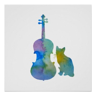 Toddler & Baby themed Cat and viola poster