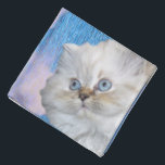 """Cat and Water Bandana<br><div class=""""desc"""">Cute white persian cat with blue eyes. Blue water and sky with white clouds.</div>"""