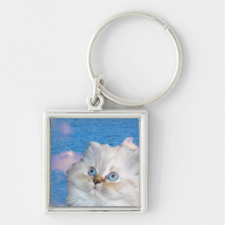 Cat and Water Metal Keychain