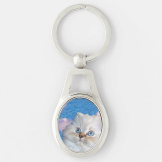 Cat and Water Silver-Colored Keychain