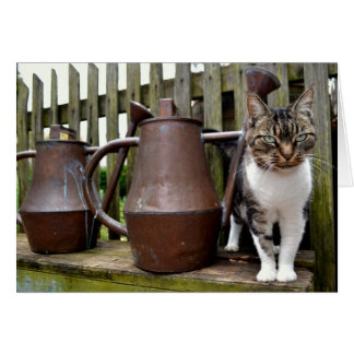 Cat and Watering Cans / Note Card