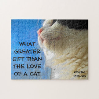 Cat and Window Charles Dickens Quote Jigsaw Puzzle
