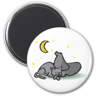 Cat and Witches Hat Halloween design 2 Inch Round Magnet