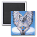 "Cat Angel ""Kitty Yin Yang"" Square Magnet"