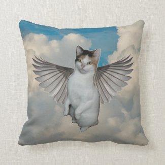 Cat Angel Throw Pillow