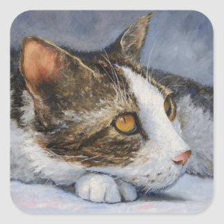 Cat Anticipation Fine Art Sticker