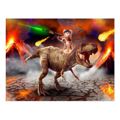 Cat armageddon _ Dinosaur cat _ bad cat _ cat art Postcard
