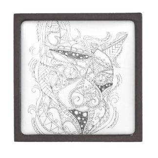 Cat Art Black and White Coloring Design Keepsake Box