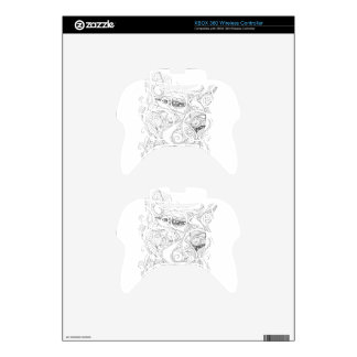 Cat Art Black and White Coloring Design Xbox 360 Controller Decal