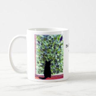 Cat Art Black Cat Bird Watching! Classic White Coffee Mug