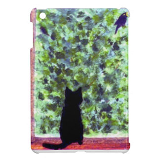 Cat Art Black Cat Bird Watching! iPad Mini Case