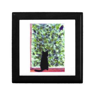 Cat Art Black Cat Bird Watching! Jewelry Box