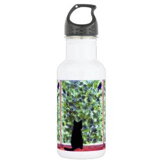 Cat Art Black Cat Bird Watching! 18oz Water Bottle