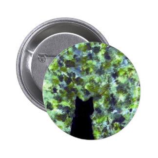 Cat Art Black Cat Bird Watching! Pinback Button