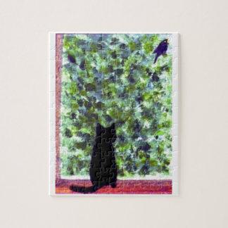 Cat Art Black Cat Bird Watching! Puzzle