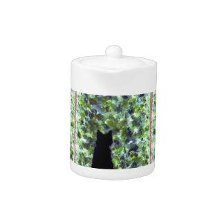 Cat Art Black Cat Painting Teapot